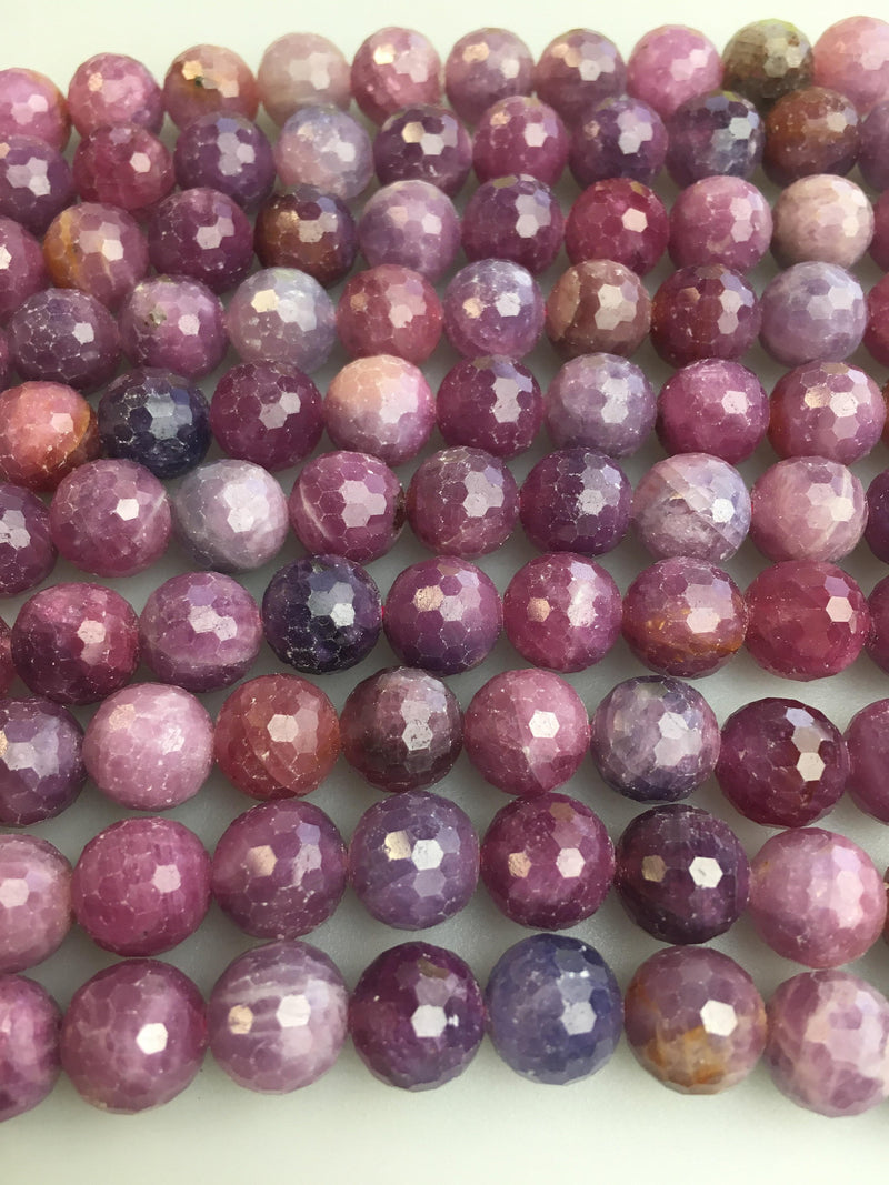 genuine ruby faceted round beads
