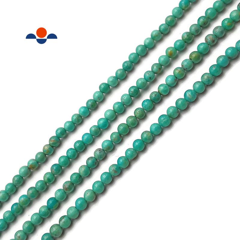 "Natural Blue Green Turquoise Smooth Round Beads 4mm 15.5"" Strand"