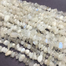 white rainbow moonstone irregular nugget chips beads