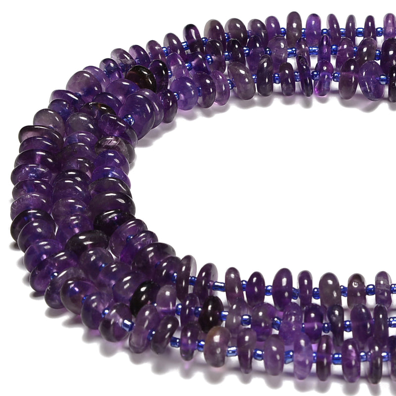 Natural Amethyst Pebble Nugget Slice Chips Beads Size 8-10mm 15.5'' Strand