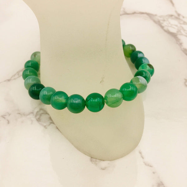 green Striped agate bracelet smooth round