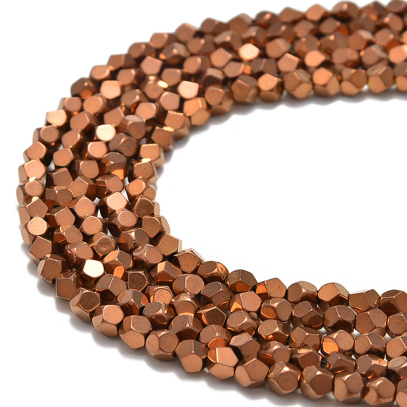 copper plated hematite faceted nugget beads