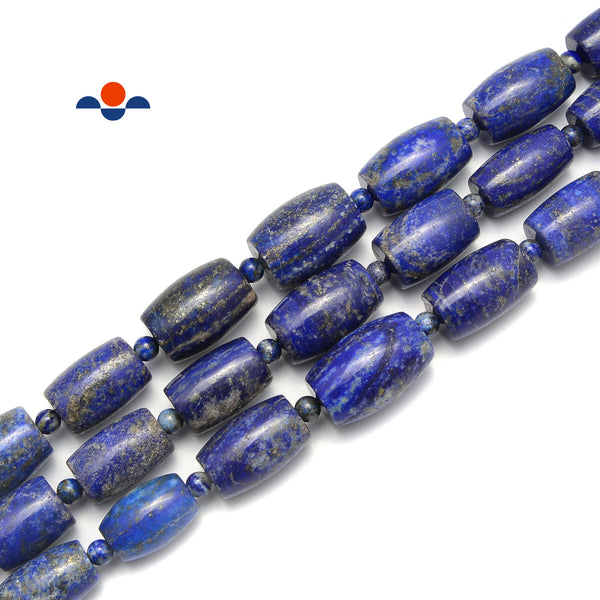 Lapis Lazuli Graduated Drum Shape Beads Size 13x18-20x25mm 15.5'' Strand