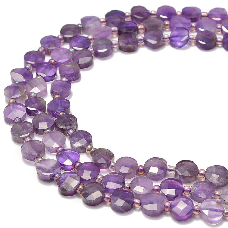 "Amethyst Faceted Coin Beads 8mm 15.5"" Strand"