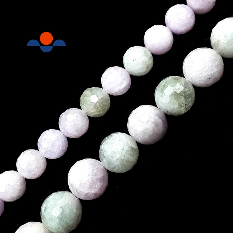 "Multi-Color Kunzite Faceted Round Beads 10mm 13mm 15.5"" Strand"