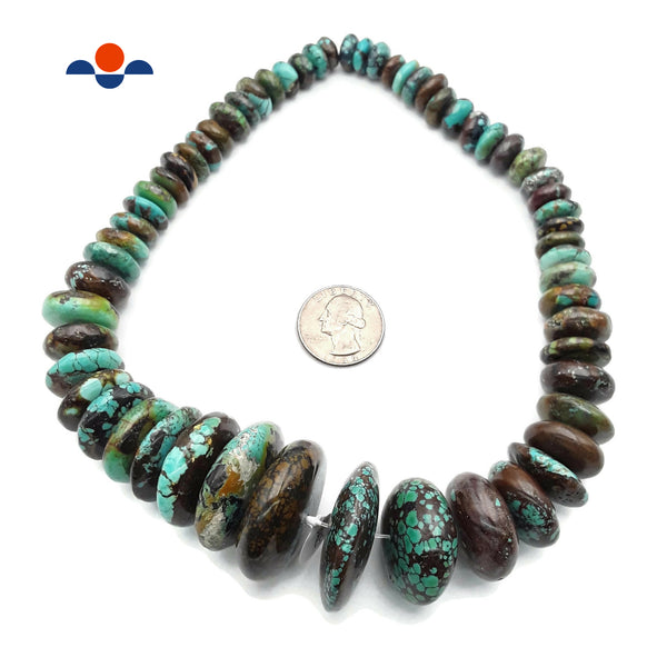 "Natural Genuine Turquoise Jumbo Graduated Rondelle Beads 15-40mm 15.5"" Strand CD"