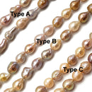 "Natural Multi Peach Pink Fresh Water Pearl Baroque Drop 10mm 12mm 15.5"" Strand"