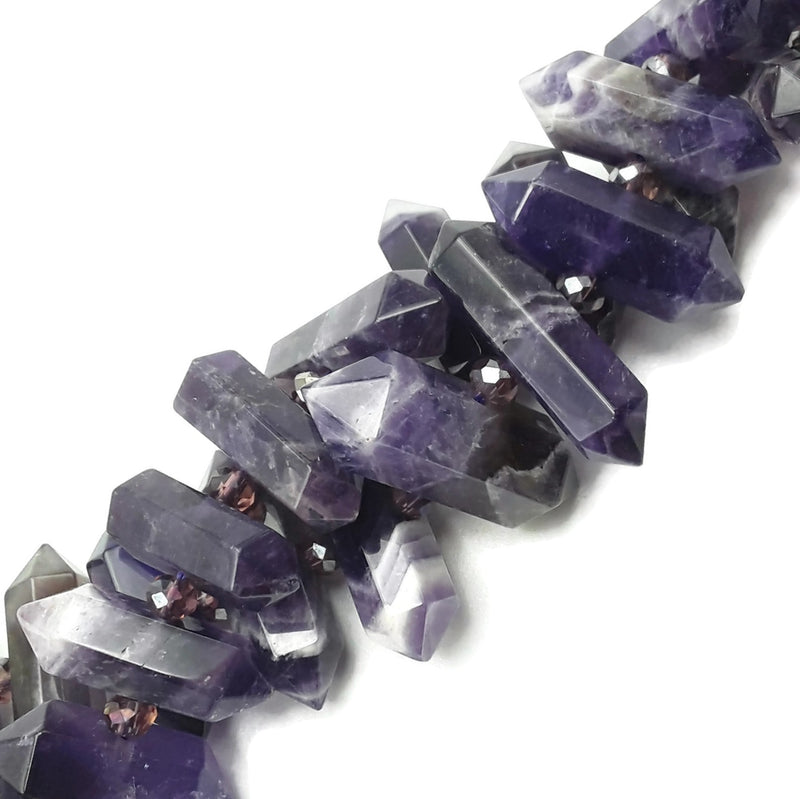 "Amethyst Teeth Graduated Center Drill Faceted Points Beads 25-40mm 15.5""Strand"