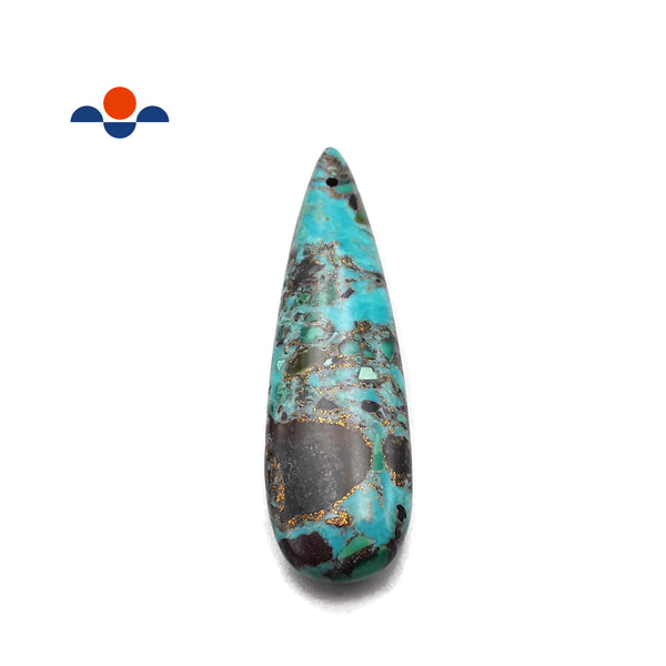 Chrysocolla Tear Drop Pendant Center/Side Drilled 12x60mm Sold By Piece