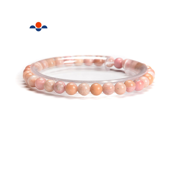 Pink Petrified Rhodonite Smooth Round Elastic Bracelet Size 5.5mm 7.5'' Length