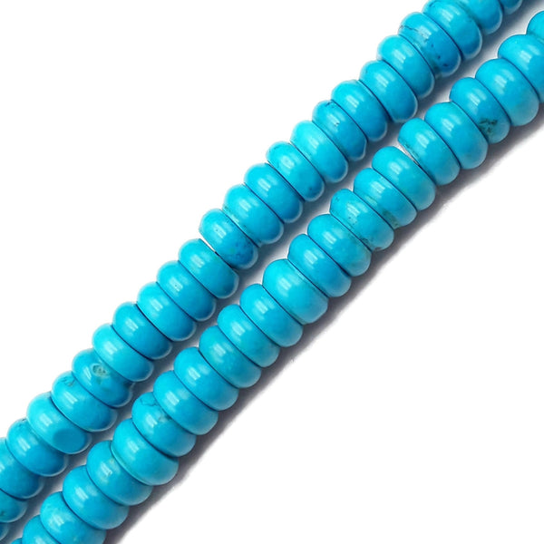 "Bright Blue Magnesite Turquoise Smooth Rondelle Beads 4x10mm 15.5"" Strand"