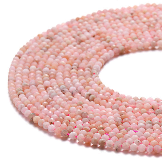 pink opal faceted round beads
