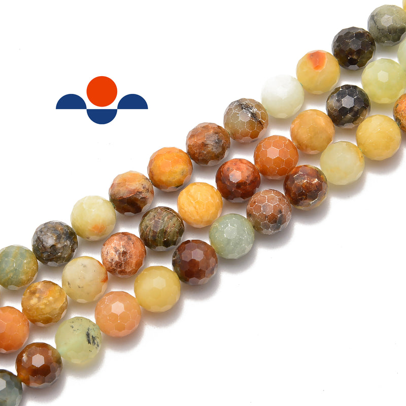 natural xiuyan flower jade faceted round beads