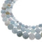 natural blue aquamarine matte round beads