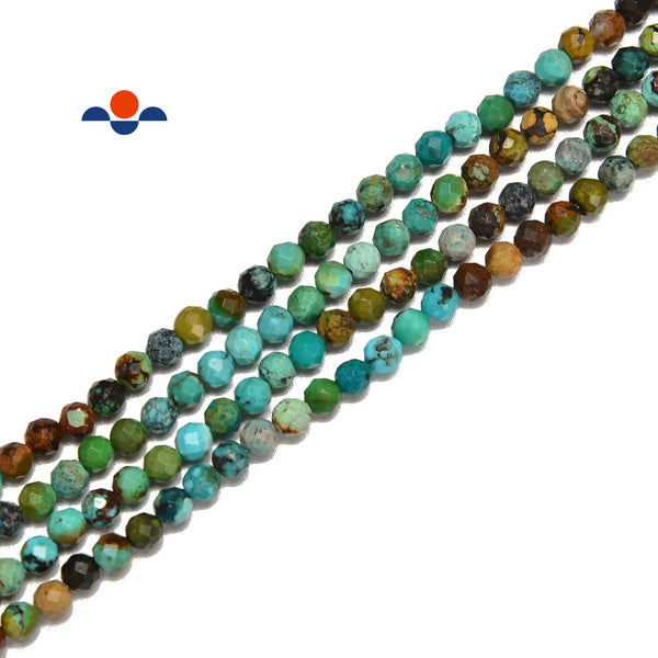 Natural Gradient Turquoise Faceted Round Beads Size 3.5mm 15.5'' Strand