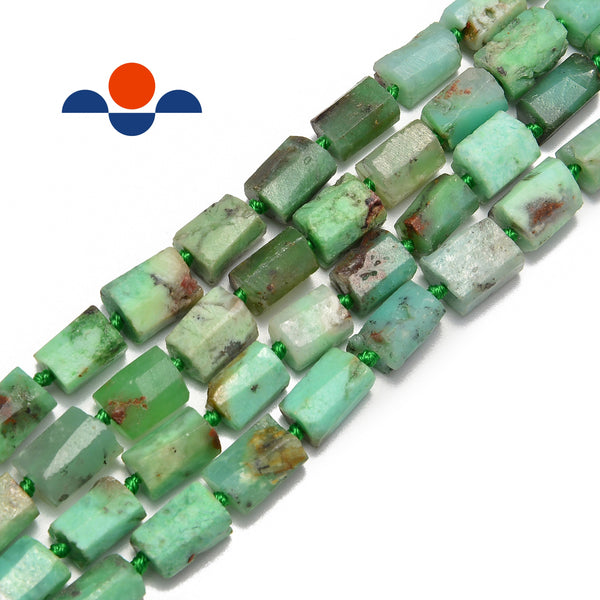 natural chrysoprase matte faceted cylinder tube beads