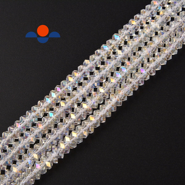 clear ab k crystal glass faceted rondelle beads
