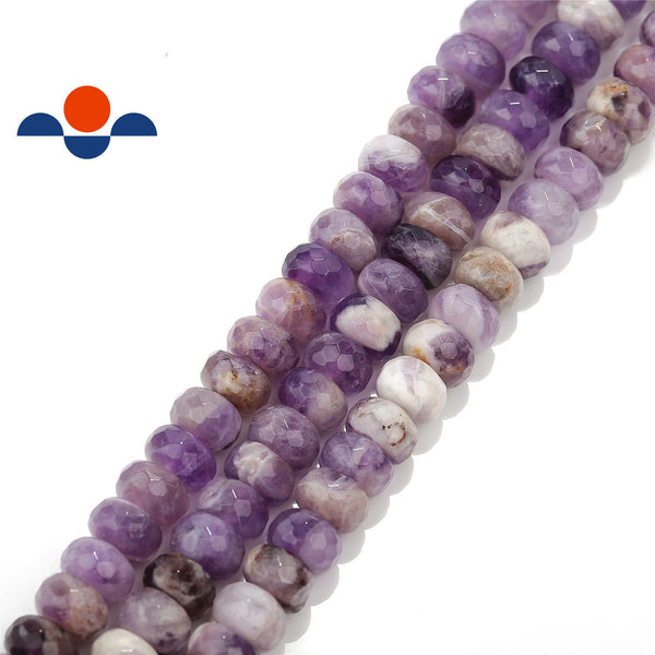 teeth amethyst faceted rondelle beads