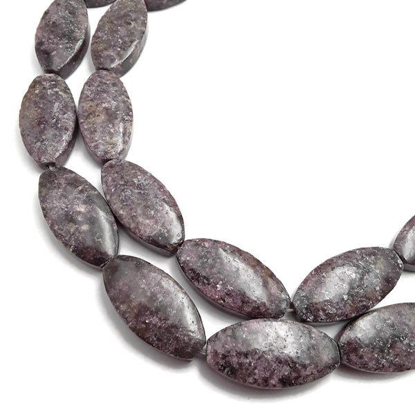 lepidolite tall flat oval shape beads