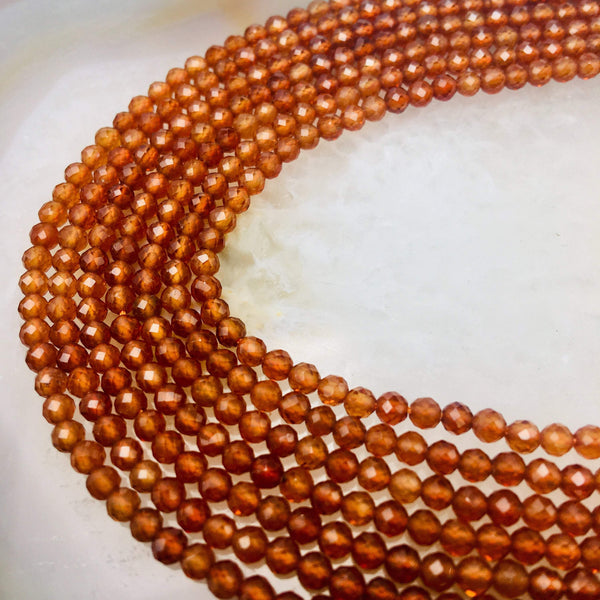 natural hessonite orange garnet faceted round beads