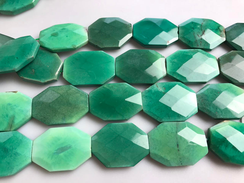 chrysoprase rectangle slice faceted octagon beads