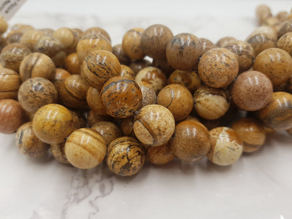 picture jasper smooth round beads