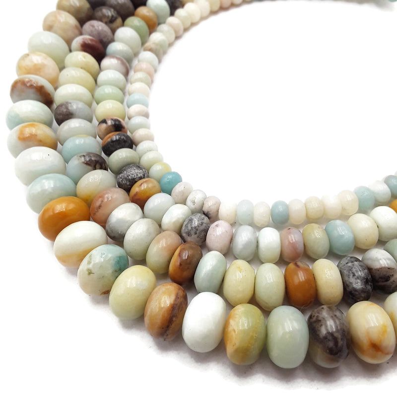 "Multi-Color Amazonite Smooth Rondelle Beads 4x6mm 5x8mm 6x10mm 8x12mm 15.5"" Strand"