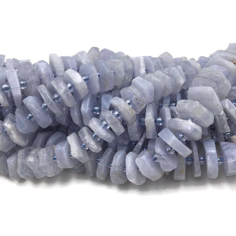 blue lace agate faceted nugget slice center drill beads