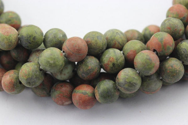 "2.0mm Hole Unakite Matte Round Beads 8mm 10mm 15.5"" Strand"