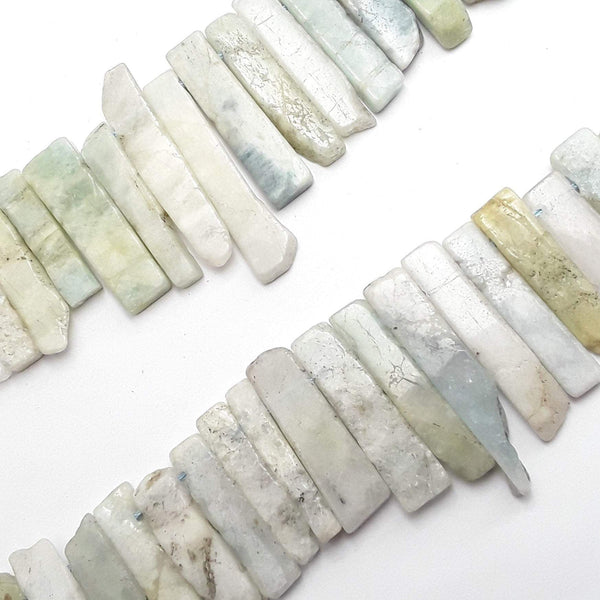 aquamarine graduated slice Sticks Points beads