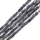 iolite irregular flat rectangle slice tube beads