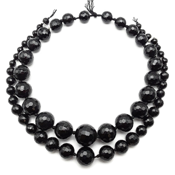 "Black Onyx Graduated Faceted Round Beads 6-14mm 8-18mm 14x24mm 15.5"" Strand"