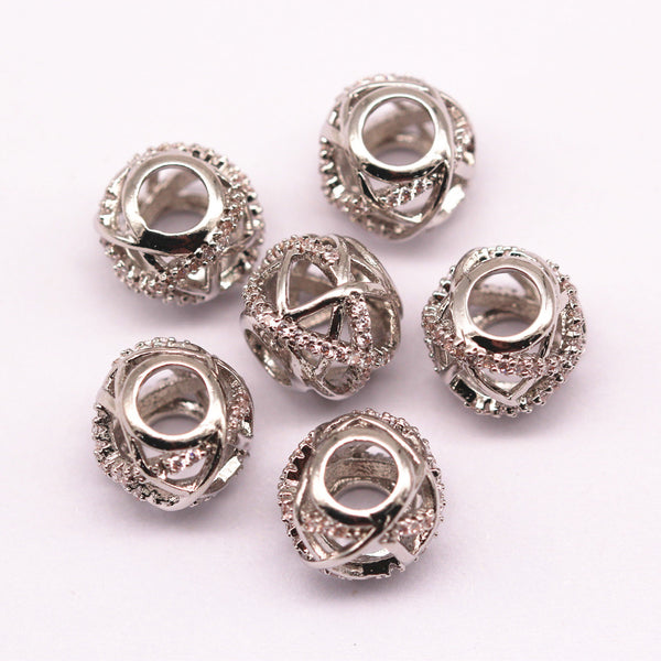 silver plated mirco pave clear zircon ball charm