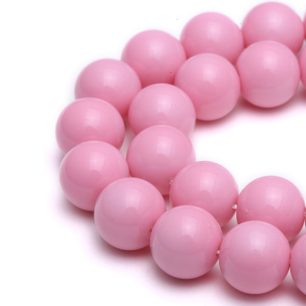 pink glass pearl smooth round beads