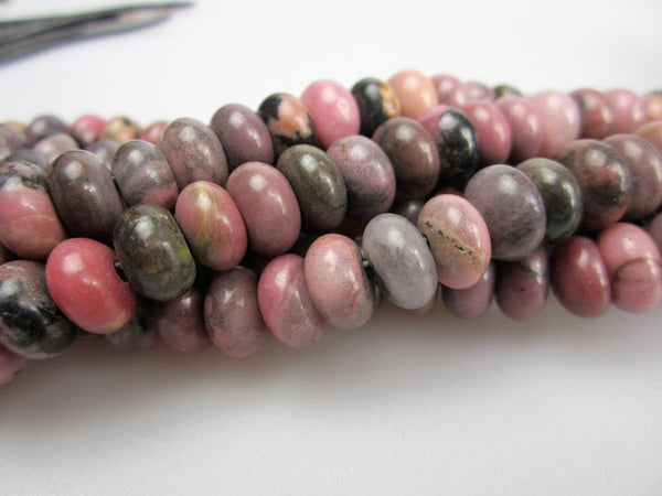 "2.0mm Hole Rhodonite Smooth Rondelle Beads 5x8mm 6x10mm 8"" Strand"