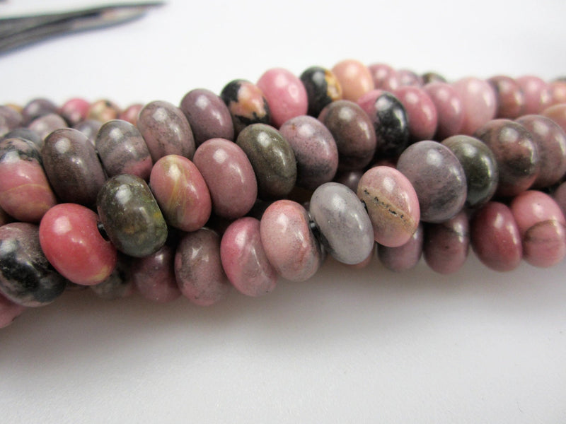 large hole rhodonite smooth rondelle beads