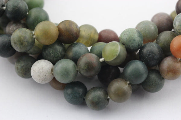 large hole indian agate matte round beads