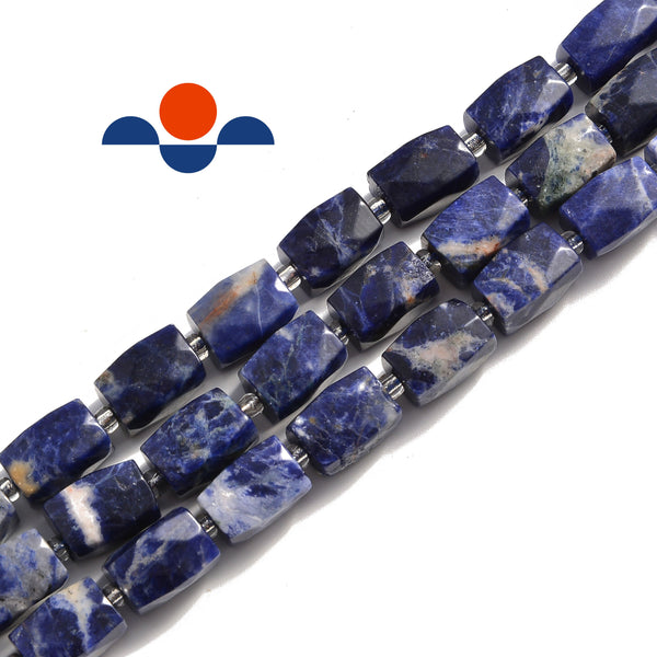 sodalite faceted rectangle cylinder drum barrel beads