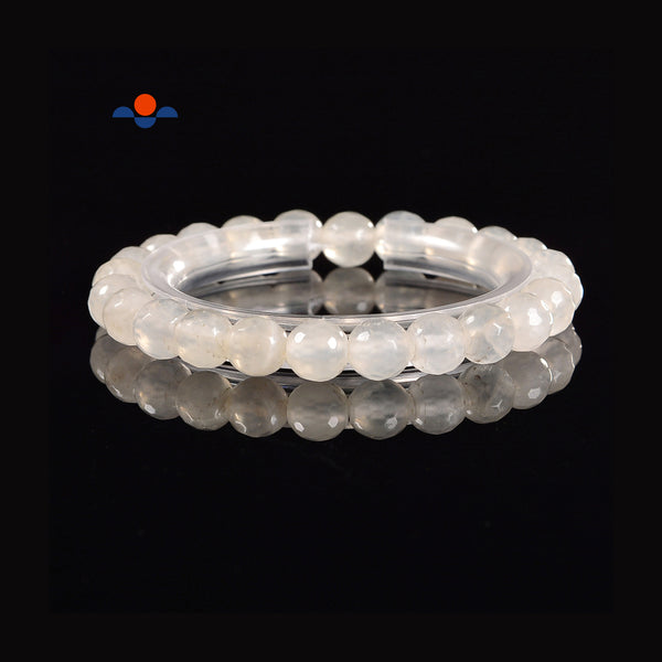 Clear Agate Faceted Round Elastic Bracelet Beads Size 8mm 7.5'' Length