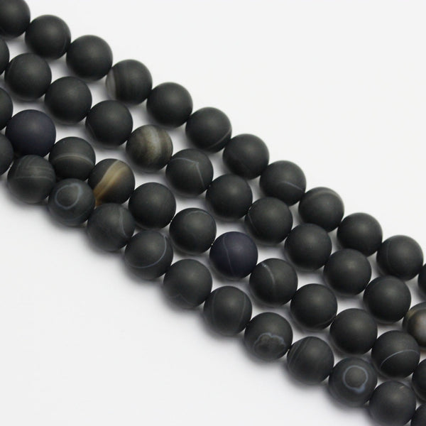 large hole black Striped agate matte round beads