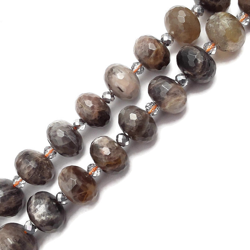 black moonstone large faceted rondelle beads