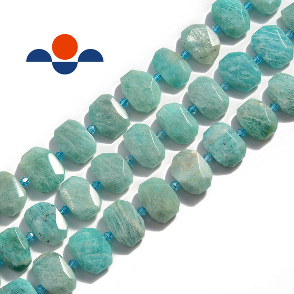 natural amazonite rectangle slice faceted octagon beads