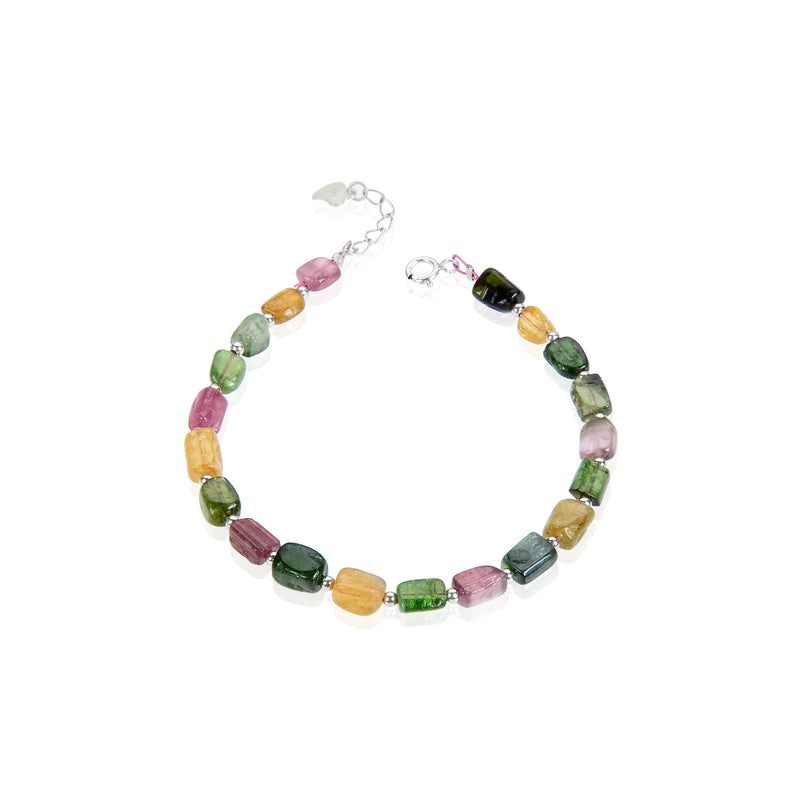 watermelon tourmaline bracelet with silver plated clasp