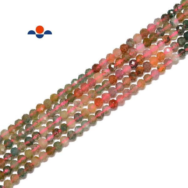 Natural Gradient Multi Agate Faceted Round Beads Size 3mm 15.5'' Strand