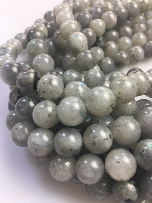 natural white labradorite smooth round beads