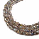 dark gray labradorite faceted rondelle beads