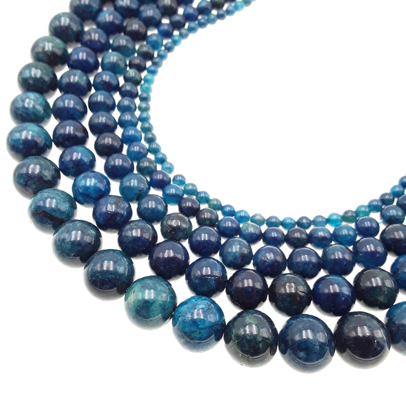 dark blue apatite smooth round beads