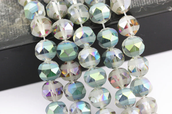 multi color crystal glass matte faceted round beads