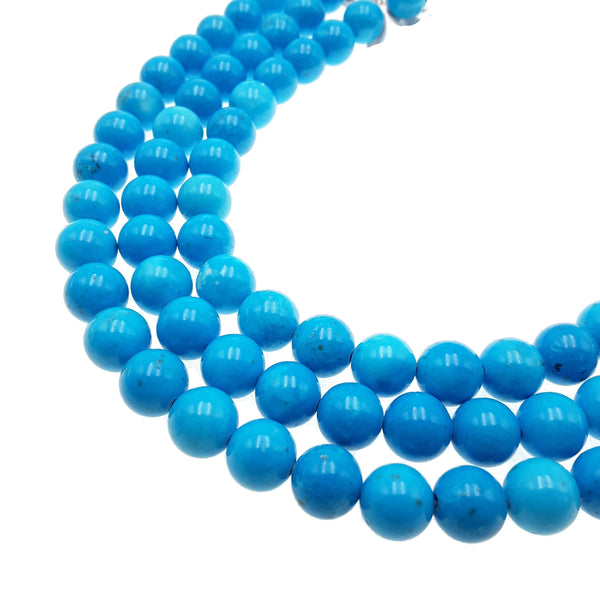 bright blue magnesite turquoise smooth round beads