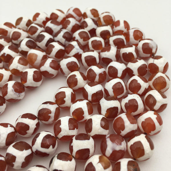 orange white tibetan agate faceted round beads